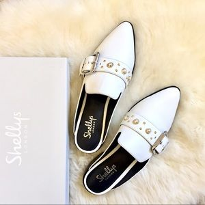 Shellys London White Leather Fatara Mules